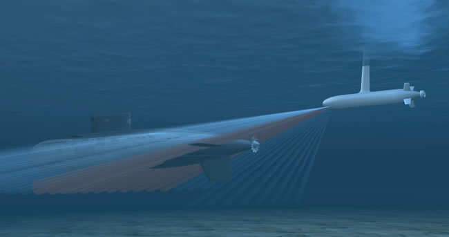 The ultra high frequency sonar will enable the ACTUV to 'paint' an acoustic image of the submarine.