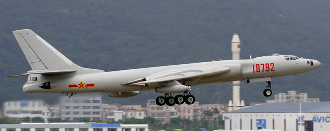 Xian H-6 (Chinese built Tu-16) bomber flying aerial refuelling support missions for the People's Republic Army Air Force (PLAAF)