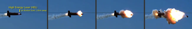 A sequence from a video showing an rocket destroyed by the ADAM laser weapon