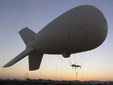 Airstar aerostat system elevated on a test mission without a payload. Photo: RAFAEL