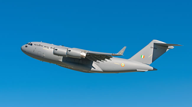 The C-17 Globemaster III heavy lift aircraft being delivered to Australia, UK, or the Indian Air Force being fitted with DIRCM after their arrival. Photo: Boeing