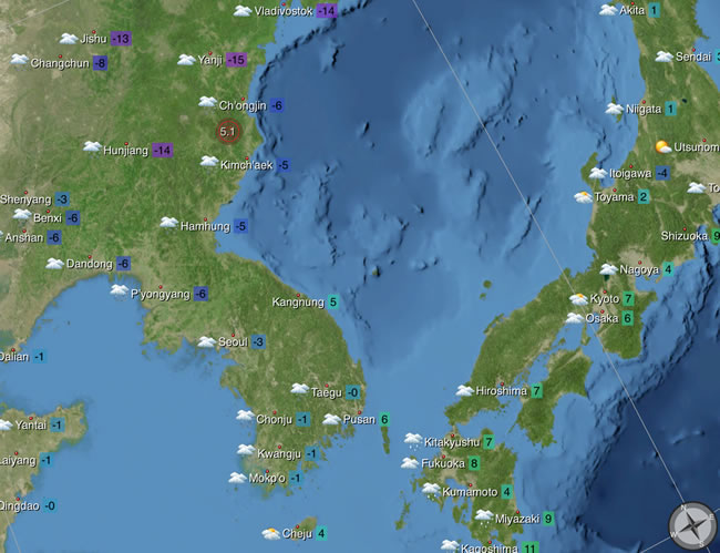 An 5.1 magnitude earthquake reported by the U.S. Geological Survey along the Eastern coastline of North Korea, early Feb 12, 2013. Photo: EarthBuzz