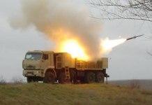Pantsir S1 firing the 57E6 air-defense missile