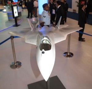 The model welcoming you at the HAL hall - the real thing will land here by 2015! Photo: Tamir Eshel, Defense Update