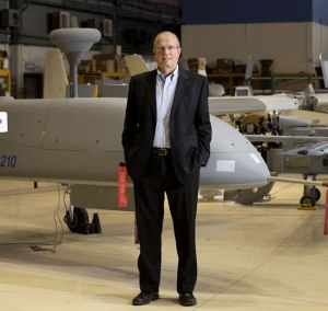 IAI's President and CEO Joseph Weiss at the company's HERON UAV production line