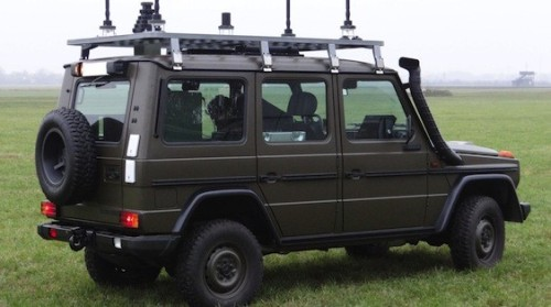 """Integrated into a light vehicle – to be seen here a """"Wolf""""-class car – Cassidian's multifunctional jammer can explore the electromagnetic spectrum and at the same time counter attacks with radio-controlled roadside bombs. Photo: Cassidian"""