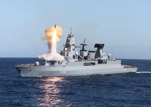 F-219 Sacsen, the first of three F-124 frigates of the German Navy fires an SM-2 Block IIIA on a test firing in 2011. Photo: German Navy
