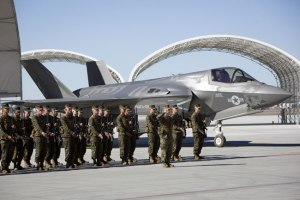 The Marine Corps re-designated Marine All-Weather Attack Squadron 121 as the first operational F-35 squadron at Marine Corps Air Station Yuma, Ariz., Nov. 20, 2012. The ceremony also welcomed the squadron's first three F-35B aircraft. Photo: Lockheed Martin