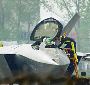 An open canopy of the first J20 prototypes shows some details of the HUD.