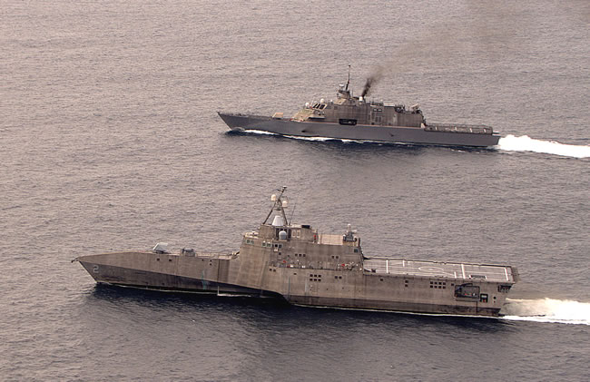 LCS 2 Independence arriving at San Diego, escorted by USS Freedom (LCS1). Photo: General Dynamics.