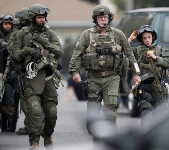 FBI Tactical team deployed to Boston, 2012. Team members' kits include the C4OPS, to offer clear communications and hearing protection on assault operations.