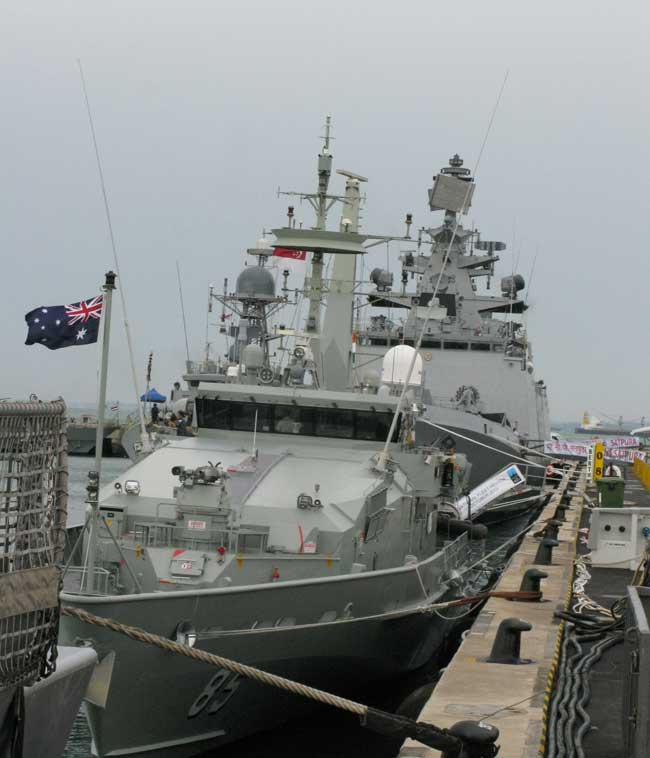 The Australian Armidale class Patrol Craft HMAS Bathurst is seen by the pier at the Singapore Changi Naval Base open day.