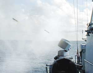 Rheinmetall 'soft kill' system fires a blinding smoke screen against an incoming target. Photo: Rheinmetall
