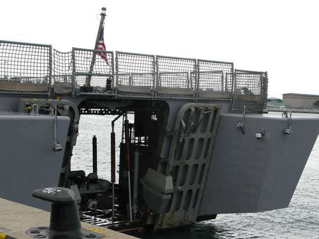 The rear ramp of the LCS-1 Freedom shows two open ramps, to the rear and starboard.