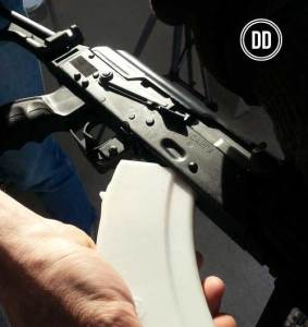 Printed AK47 magazine designed and printed on a 3D printer by Defense Distributed. Photo: Defense Distributed