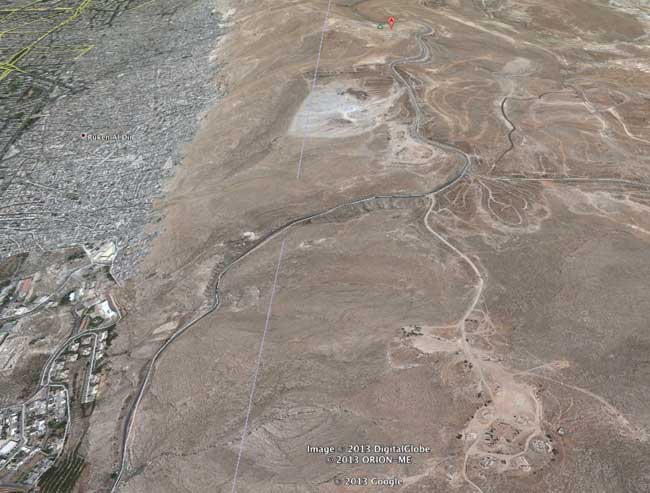 Two storage areas and a SAM-3 missile site Jabel Qasioun are clearly seen in this Google earth satellite image. The missile storage areas were relatively exposed hence the huge fireballs caused by spelt fuel and ammunition. The SAM site was not targeted by the attack. Photo: Google Earth