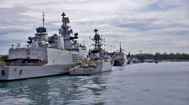 Shivalik Class frigate INS Satpura berthed along the corvette INS Kirch at Changi