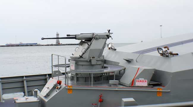 Typhoon 25mm gun mount on the Armidale class Patrol Craft HMAS Bathurst