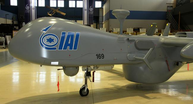 Elta Systems' EL/K-7065 3D HF Direction Finder (3DHFDF) mounted on the IAI Heron I drone. Photo: IAI