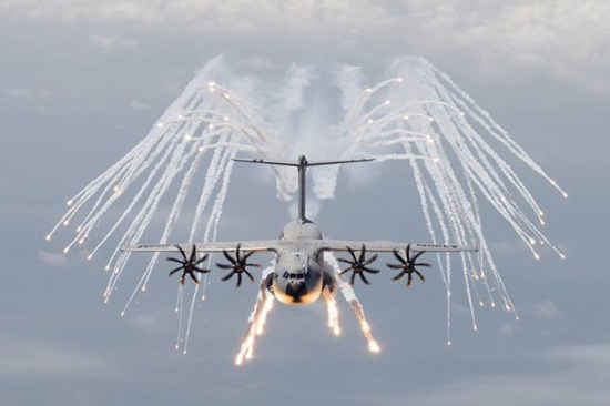 Airbus Military A400M demonstrates the release of decoy flares. Photo: Airbus Militarty
