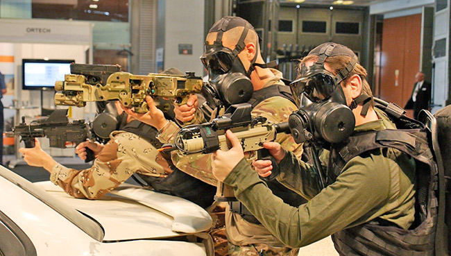 Crnershot and Gilboa APR from Silver Shadow, demonstrated with Avon's CBRN masks.