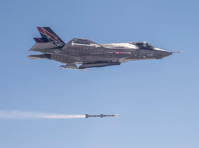 F-35A launching the first AIM-120 AMRAAM missile from the weapon's bay. The aircraft also carries two dummy AIM-9X Air/Air which will not be carried on full  stealth missions. Photo: Lockheed Martin