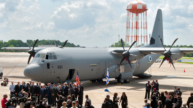 Israel Received today the first C-130J Super Hercules: 'Shimshon'. Photo: Lockheed martin