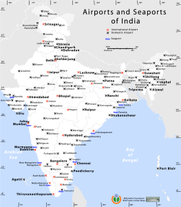 Airports and seaports in India. (Click to enlarge)