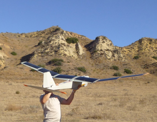 The solar powered Puma AE launched on a long-endurance. Its standard batteries are augmented by by the new solar cells. Photo: Aerovironment