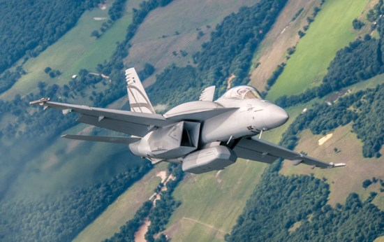 Advanced Super Hornet shown during the recent test flights, note the conformal fuel tanks over the wings and Enhanced Weapons Pod adding stealthy weapon carriage capability to the aircraft. Photo: Boeing
