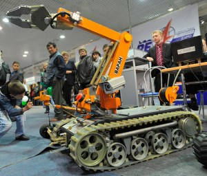 This robotic rover was displayed at RAE 2011 by the Kovrovskogo Electromechanical Plant