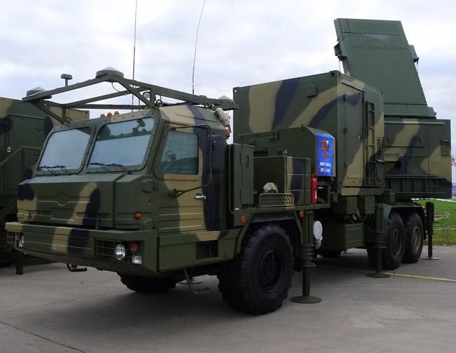 The mobile 50N6E radar is part of the S-350E Vityaz air defense system. Photo: Bill Sweetman, Aviation Week