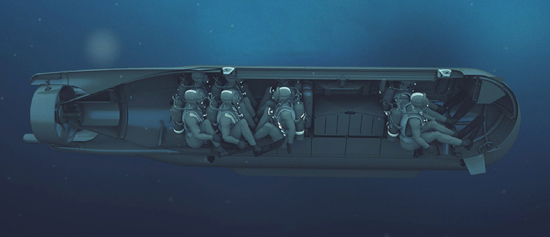 Launched from a submarine hanger the SUB SEAL can carry divers. Photo