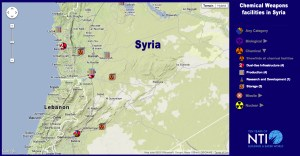Chemical Agents storage, production and research facilities in Syria. Map courtesy of NTI.