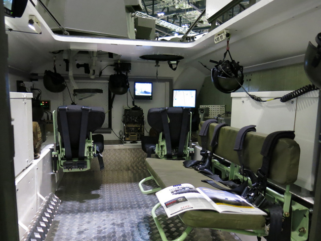 Inside the modified and upgraded CVR(T) the seating configuration has been improved, with driver and commander seated side by side, with the troops seatec on blast protected seats to the rear.