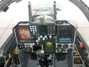 Inside the new cockpit of the Kfir C10/12 and Block 60 utilizes multiple large color displays, HUD and helmet mounted sight. Photo: IAI