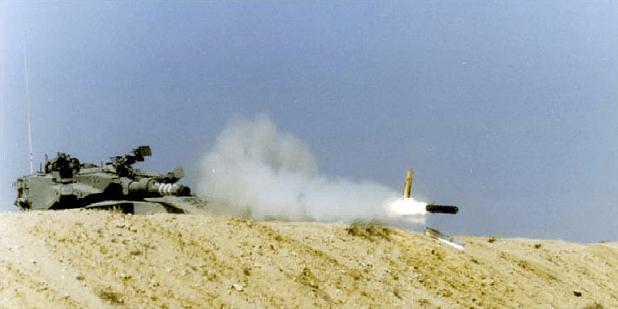 LAHAT tested firing from the 120mm gun of the Merkava Mk III during firing trials. Photo: IMOD / Defense-Update