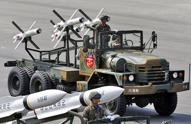 South Korea's Israeli-made Spike NLOS missiles were seen during events to mark the 65th anniversary of Armed Forces Day, in Seongnam
