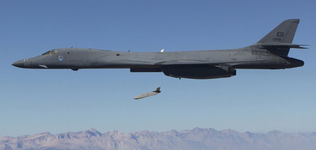 LRASM missile launched from a B-1B on its first test flight in September 2013. Photo: DARPA