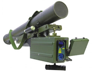 Corsar, a man portable guided missile weapon system weighing 28 kg can engage moving or stationary targets at ranges of 2,500 meters.