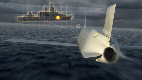 An artist impression depicting an LRASM missile on terminal attack, its seeker is verifying the target's silhouette and most vulnerable aimpoint for the final strike. Photo: Lockheed Marti