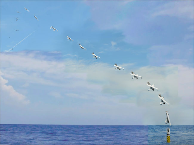 A launch sequence demonstrating the initial flight path and transition of the drone, from vertical to horizontal flight. Photo: NRL