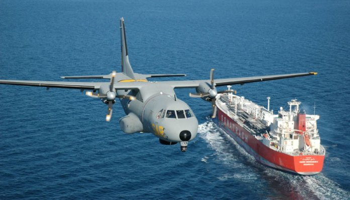 The CN-235 already operates as a maritimepatrol aircraft with a number of world navies and coast guards. The variant operated with  the Spanish Navy is seen In this photo. Photo: Airbus