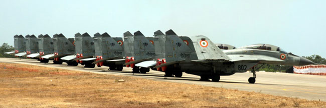 The Indian Navy has already taken delivery of eight of the carrier's MiG-29K naval fighter aircraft, which were completed before their parent ship was ready for sea. The first MiG-29K squadron INAS 303 'Black Panthers' commissioned at INS Hansa near Goa in May 2013 will support the Vikramaditya, to be based at the nearby Karwar naval base, on the western seaboard. Indian Navy