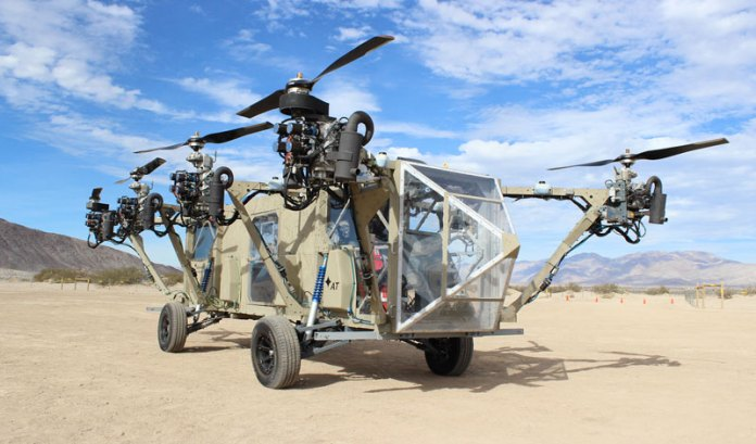 The 'Black Knight Transformer' is based on an innovative technology pioneered by Advanced Tactics, that combines the capabilities of a rotorcraft, and an off-road vehicle. Photo: Advanced Tactics