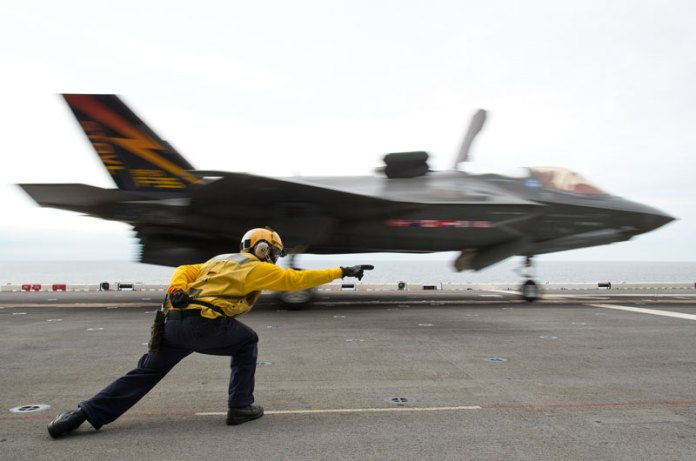 An F-35B test aircraft is cleared for short takeoff from the deck of the USS Wasp on Aug. 19, 2013 Photo: Lockheed Martin