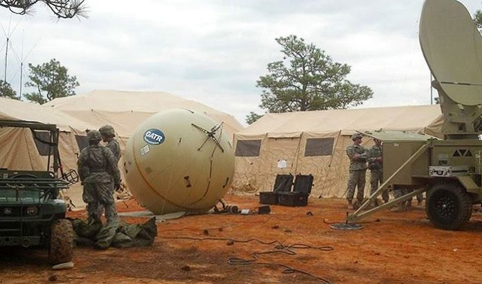 GTAR is providing this 2.4 meter inflatable antenna sphere as a deployable SATCOM replacing heavier and more complex satellite dish antennae. Photo: GTAR.