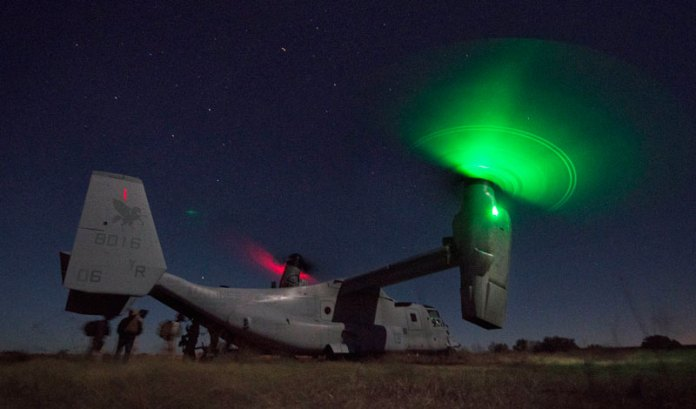 """Students from the Infantry Officer Course (IOC) at Marine Corps Base Quantico, Va., completed a """"Proof-of-Concept"""" 1,100 mile, long-range raid from Twentynine Palms, Calif., to Fort Hood, Texas, via MV-22 Ospreys. USMC photo by Sgt. Tyler Main"""
