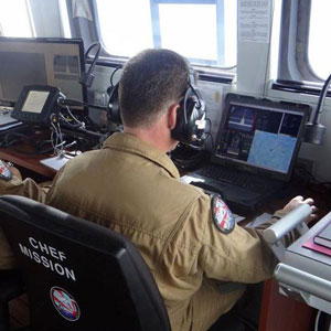 The Camcopter mission chief operates the S100 payload from the bridge of the OPV L'adroit. PHOTO: French Navy