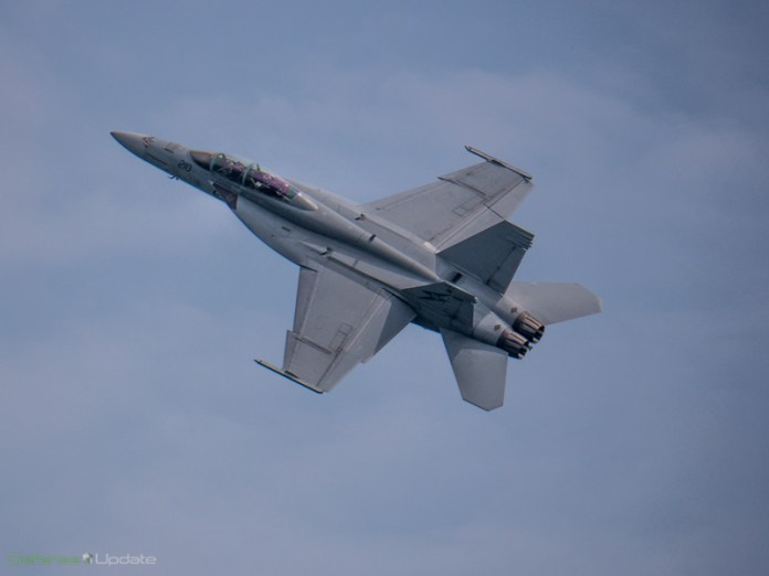 Royal Australian Air Force F/A-18F Rhino displaying high manoeuvrability at a solo display at the Singapore Airshow.